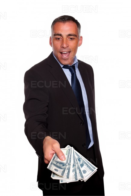 Excited executive holding and showing cash money stock photo