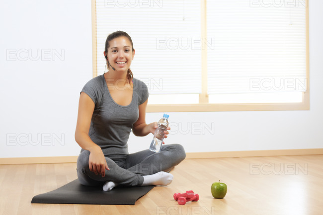 Girl resting from sport exercises stock photo