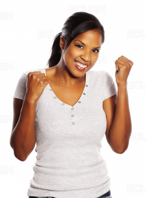 Happy black woman stock photo
