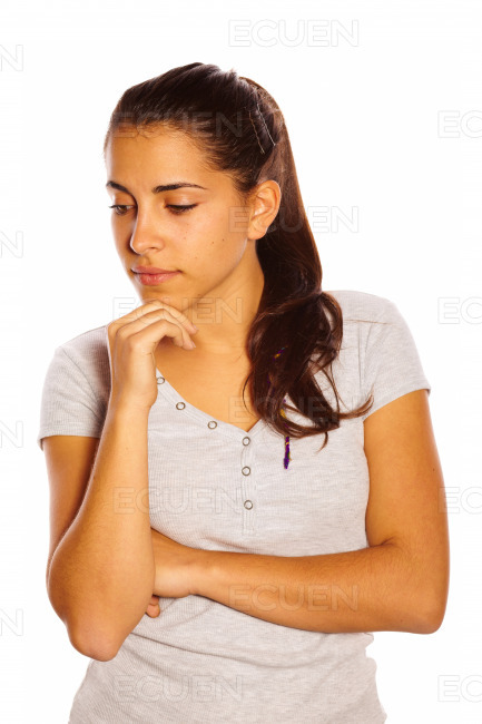 Isolated young woman stock photo