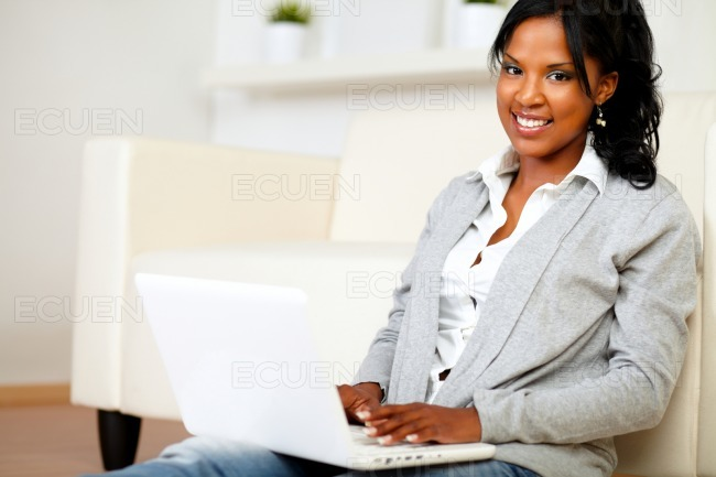 Lovely girl smiling and looking to you stock photo