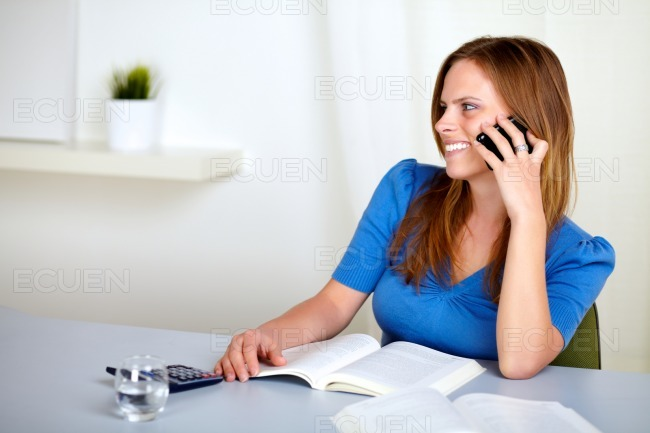 Lovely pretty girl speaking on mobile stock photo