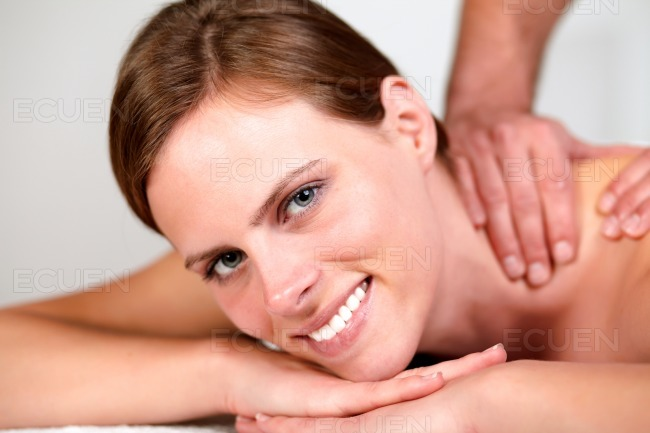 Lovely pretty woman smiling and relaxing stock photo