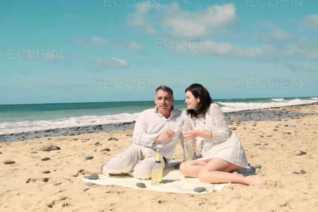 Picnic on the beach stock photo