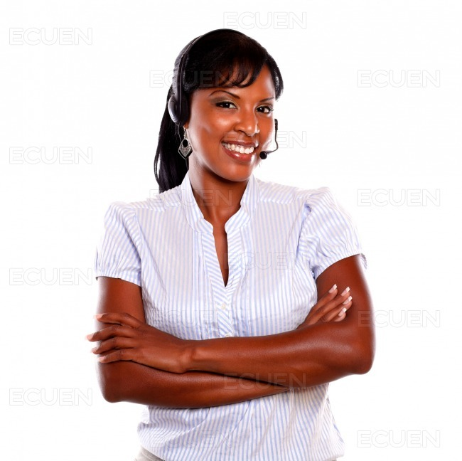 Pretty call center employee smiling at you