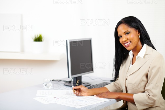 Professional woman working on documents stock photo