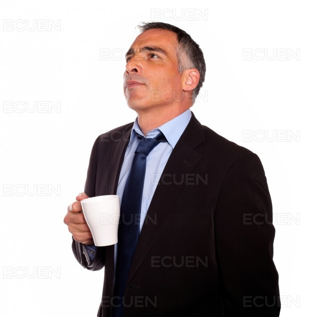 Reflective business man with a white mug stock photo