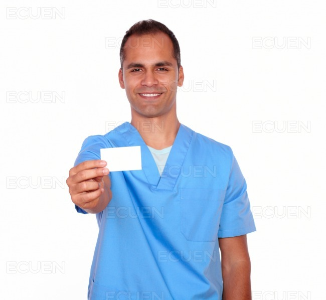 Smiling guy nurse holding up a white business card ecuen images download preview colourmoves