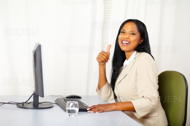 Successful executive female at work stock photo