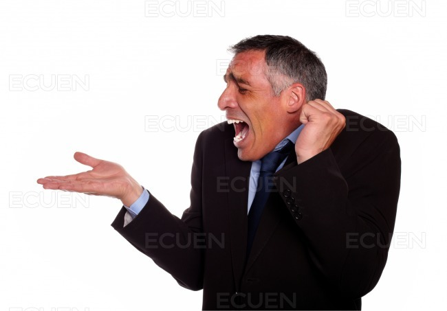 Surprised adult man with extended right hand stock photo
