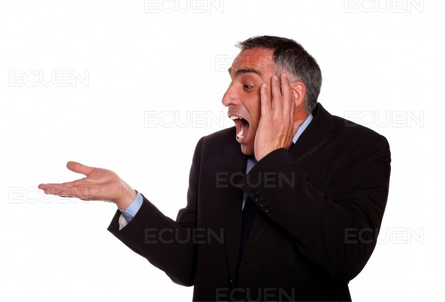Surprised man with extended right hand stock photo