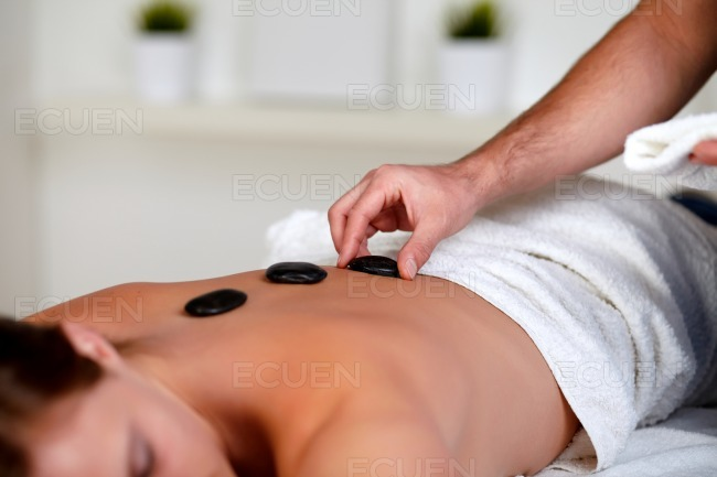 Tired woman relaxing at a spa stock photo