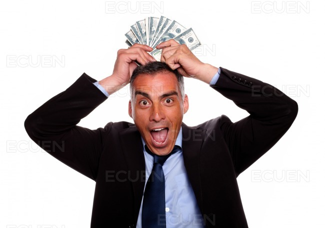 Victorious mature person with cash money stock photo