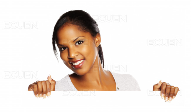 Woman holding a signboard stock photo
