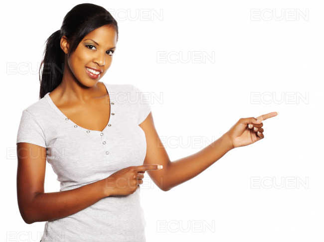 Woman pointing with the fingers stock photo