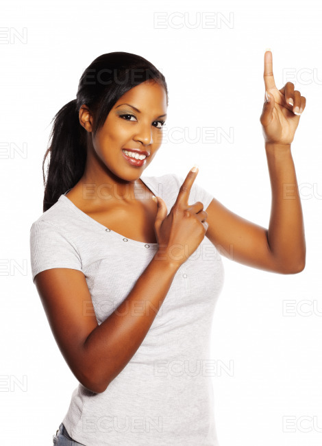 Woman pointing with the fingers