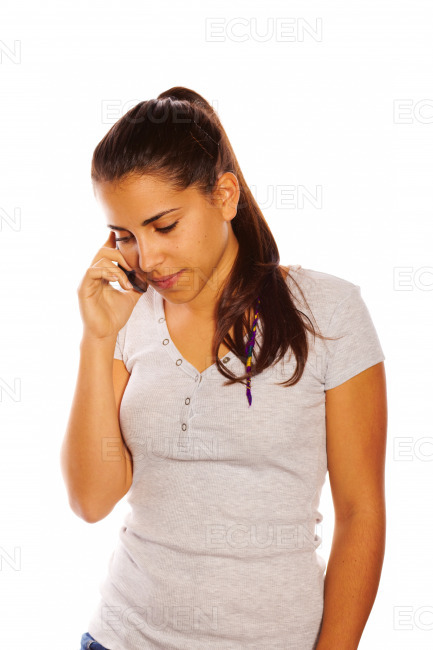 Woman using a mobile phone stock photo