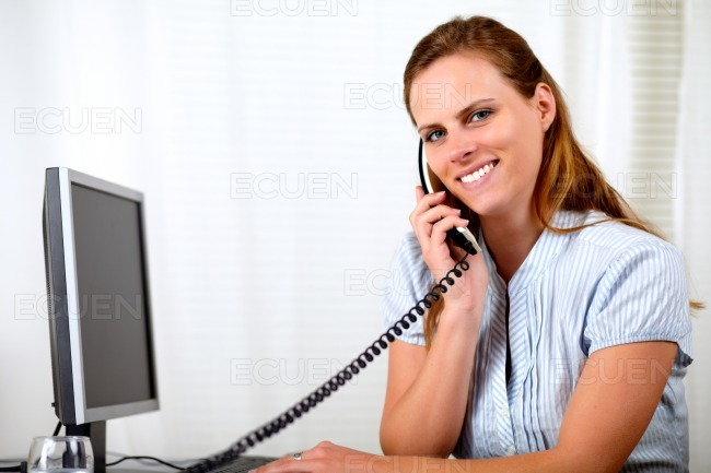 Young attractive businesswoman on phone stock photo