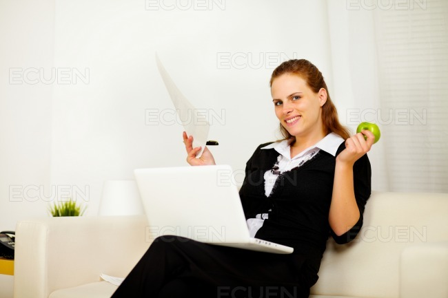Young business lady working stock photo
