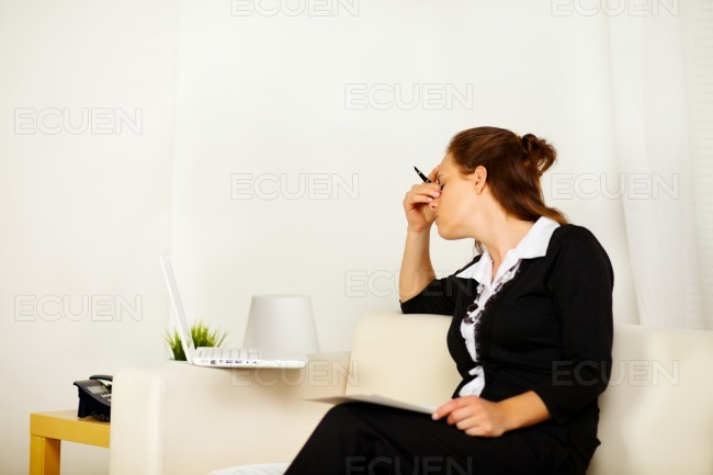 Young business woman with stress stock photo
