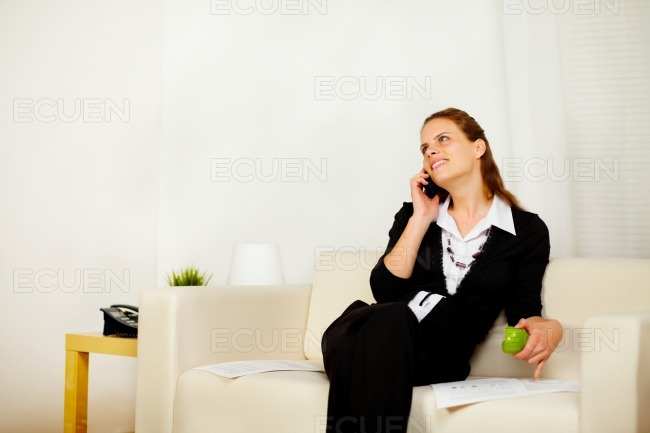 Young business woman working on sofa at home stock photo