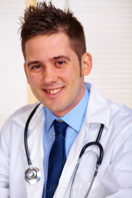 Young doctor at work stock photo