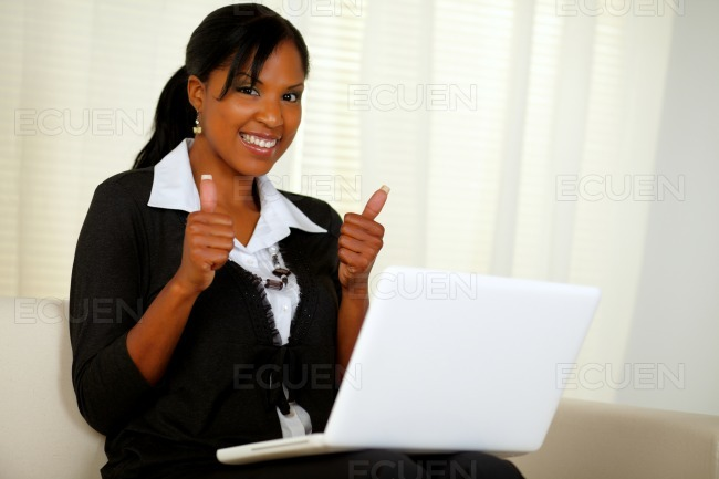 Young executive woman browsing the Internet stock photo