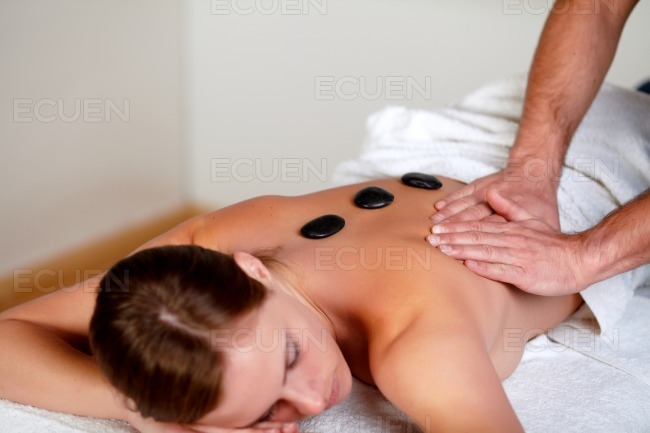 Young girl relaxing at a day spa stock photo