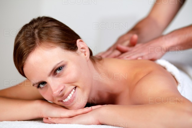 Young pretty woman smiling and relaxing stock photo