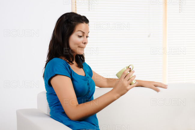 Young woman confused stock photo