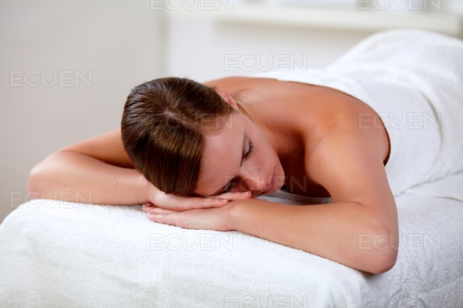 Young woman lying on a stretcher stock photo