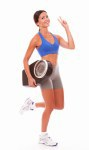 Charming lady happily carrying weight scale
