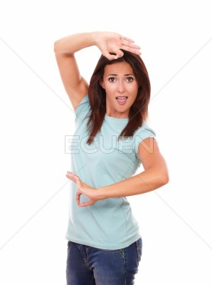 Alone hispanic woman dancing with positive gesture