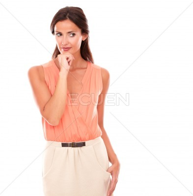 Attractive lady in elegant skirt wondering