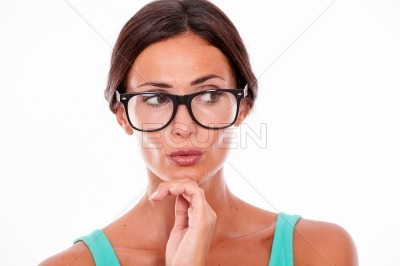 Attractive pouting brunette female with glasses