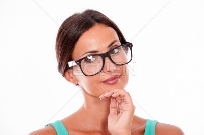 Attractive smiling brunette female with glasses
