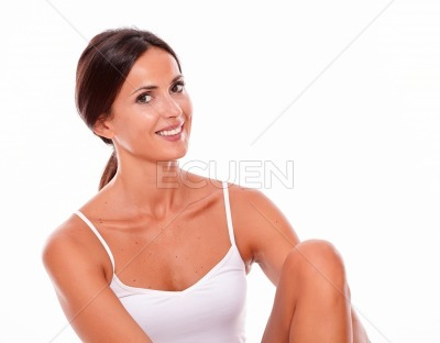 Attractive smiling brunette young woman only