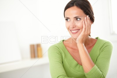 Attractive woman looking young and satisfied