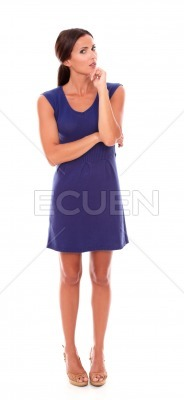 Attractive woman with hand on chin wondering