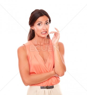 Beautiful woman with hand gesturing error