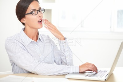 Business employee working on her computer