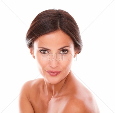 Charming adult woman looking at camera