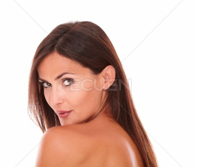 Charming latin woman showing her good skincare