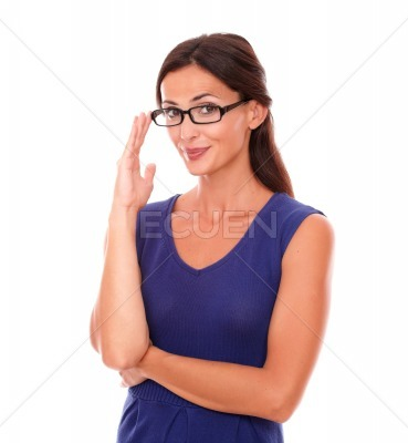 Cheerful hispanic lady with spectacles smiling