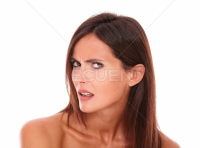 Confused mature woman looking at camera