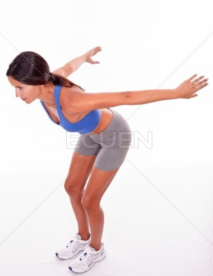 Diving brunette woman on white background