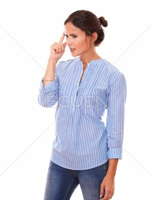 Frustrated latin woman wondering while standing