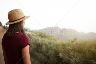 Girl looking out over the mountain
