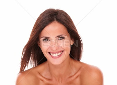 Happy beautiful woman laughing at camera