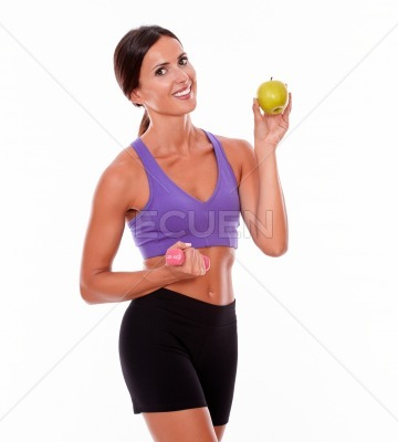 Happy smiling brunette woman in shape